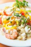 Delicious Seafood fettuccine pasta Stock Photos