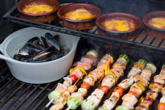 Delicious seafood outdoor meal at the BBQ Royalty Free Stock Photography