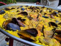 Delicious seafood paella full of flavor royalty free stock photography