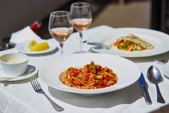 Delicious seafood pasta Royalty Free Stock Image