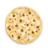 Delicious seafood pizza with olives Royalty Free Stock Image