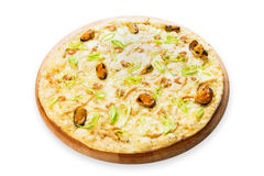 Delicious seafood pizza with olives Royalty Free Stock Photography