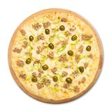 Delicious seafood pizza with olives Royalty Free Stock Images
