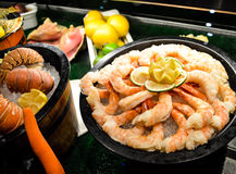 Delicious seafood platters royalty free stock image