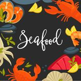 Delicious seafood promotional banner with big italic sign Stock Photography