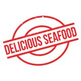 Delicious Seafood rubber stamp Royalty Free Stock Images