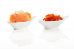 Delicious seafood. Salmon and caviar. Royalty Free Stock Photo