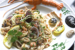 Delicious seafood spaghetti dish Royalty Free Stock Photo