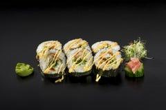 Delicious set Japanese sushi rolls. Royalty Free Stock Images