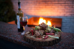 Delicious set of meat and red wine; Stock Photography