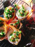 Delicious shell or clams mussels on hot fire coal grill Stock Photography