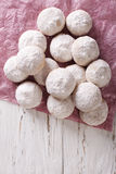 Delicious shortbread polvoron closeup. vertical top view Stock Photo