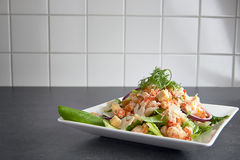 Delicious shrimp ceasar salad on a plate Stock Images