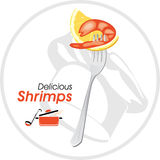Delicious shrimp on a fork. Icon Royalty Free Stock Image