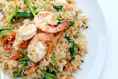 Delicious Shrimp fried rice. Unique style in the white dish on white background,  Thai food. Stock Photography