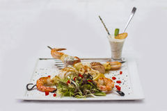 Delicious shrimp kebabs. Cooked at the highest level Stock Images
