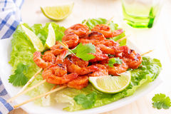 Delicious shrimp on skewers Royalty Free Stock Photo