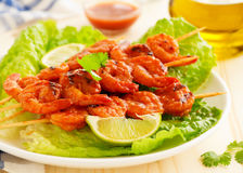 Delicious shrimp on skewers Royalty Free Stock Images