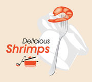 Delicious shrimps. Icon for a design Royalty Free Stock Photos