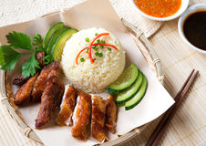 Delicious Singapore chicken rice. Stock Photos
