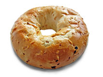 Delicious single bagel. Photo of a delicious single onion bagel on white background Stock Image