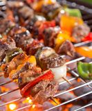Delicious skewers on garden grill Royalty Free Stock Images