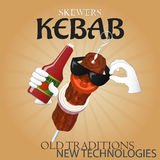 Delicious skewers kebab new technologies poster AD Stock Images