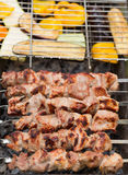 Delicious skewers of meat and vegetables Royalty Free Stock Images