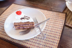 Delicious slice of Black Forrest Cake. On a plate and ready to e Royalty Free Stock Images