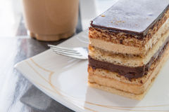 Delicious slice of opera cake on a plate Royalty Free Stock Photo