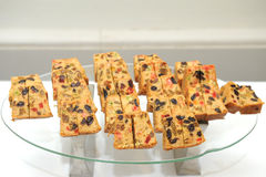 Delicious sliced fruit cake Stock Photos