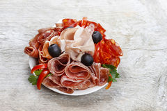 Free Delicious Sliced Ham. Platter Of Assorted Cured Meats And Stock Photos - 38543223