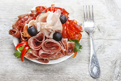 Free Delicious Sliced Ham. Platter Of Assorted Cured Meats And Stock Photography - 38543302