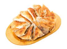 Delicious sliced puff pie with chicken breast. Stock Photos