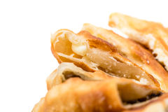 Delicious sliced puff pie with mushrooms. Royalty Free Stock Photo