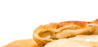 Delicious sliced puff pie with potatoes. Stock Photo
