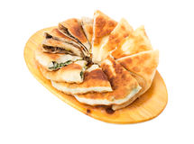 Delicious sliced puff pie. Royalty Free Stock Photos