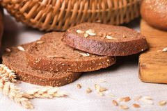 Delicious sliced rye bread on table Royalty Free Stock Images