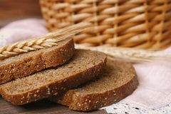 Delicious sliced rye bread on table Royalty Free Stock Image