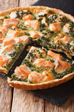 Delicious sliced tart with salmon and spinach, close-up. vertica Royalty Free Stock Photography