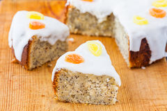 Delicious slices of lemon and almond drizzle cake Stock Photography