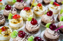 Delicious small fancy cakes Stock Images