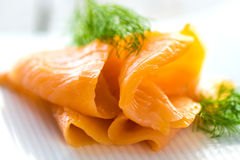 Delicious smoked Norwegian salmon Royalty Free Stock Images
