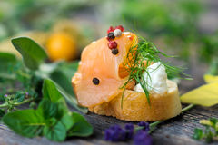 Delicious smoked Norwegian salmon Stock Photography