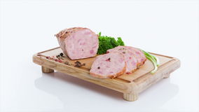 Delicious smoked pork with basil stock footage