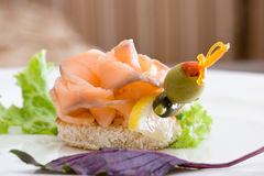 A delicious smoked salmon canape Royalty Free Stock Photo