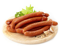 Delicious smoked sausages Stock Image