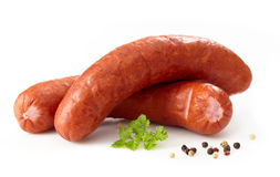 Delicious smoked sausages Stock Photography