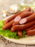 Delicious smoked sausages Royalty Free Stock Photos