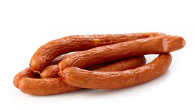 Delicious smoked sausages Royalty Free Stock Photo